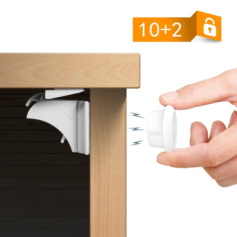 Hotreasure Child Safety Magnetic Cupboard Locks No Tools Or Screws Needed (10 locks + 2 keys)