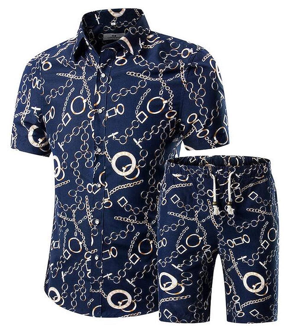 UUYUK Men Short Sleeve Slim Fit 2 PCS Outfits Printed Big and Tall Shorts Tracksuits