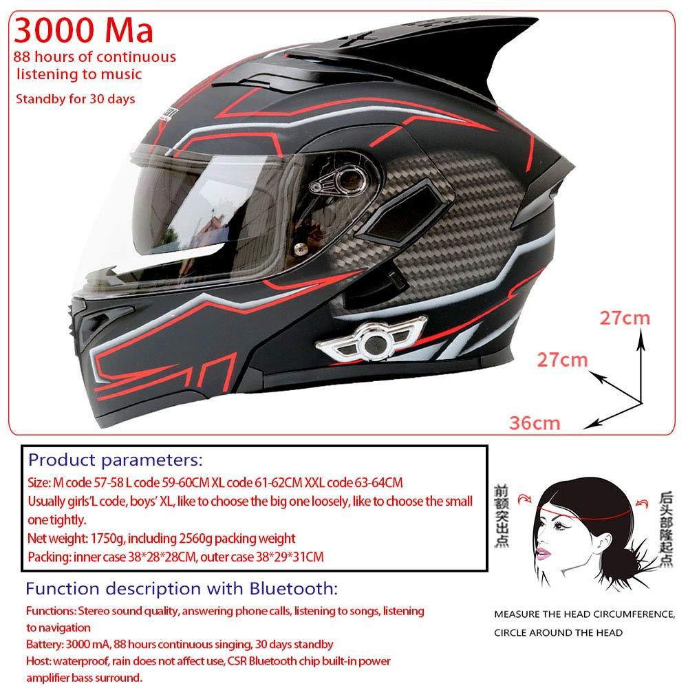 Lente Doble Casco Abierto Casco de la Motocicleta Bluetooth ...