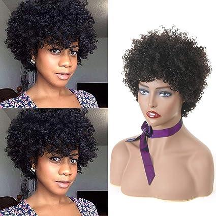 Morichy Pelucas de pelo humano para mujer, color natural, cortas, afro, rizadas