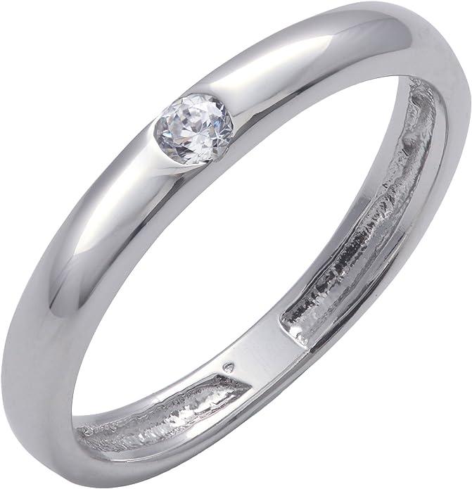 Clear CZ poli solitaire élégant anneau NOUVEAU 925 Sterling Silver Band Taille 5-10
