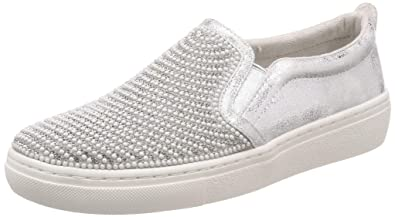 dc22bf3d9db8 Skechers Womens  Goldie Shiny Shaker Slip On Shoe Silver 7 ...