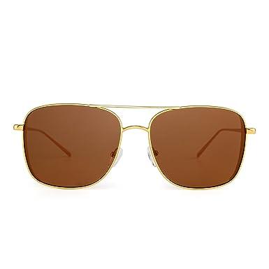 c9ef9189cb Mirrored Sunglasses Flat Square Driving Steampunk Eyewear Men Women (Gold  Brown)