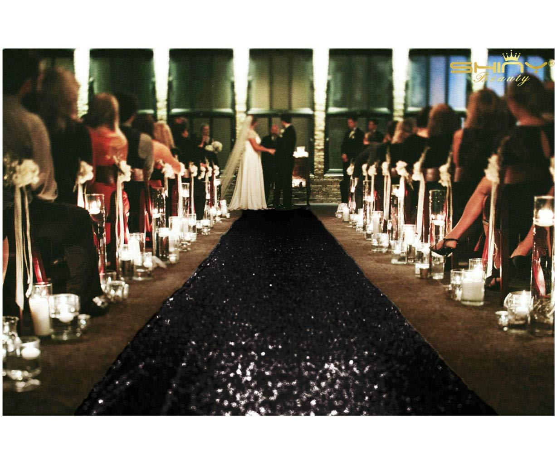 ShinyBeauty Aisle Runner Tape-Black-4FTX15FT,Shimmer Sequin Fabric Wedding Floor Runner,Glitter Carpert Runner