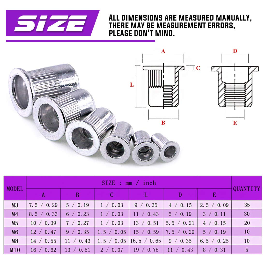 Swpeet 110Pcs Aluminum Alloy Flat Head Rivet Nut Kit, Including Assorted M3 M4 M5 M6 M8 M10 Aluminum Treaded Insert Nutsert Perfect for Providing High Strength Load Bearing Threads by Swpeet (Image #2)