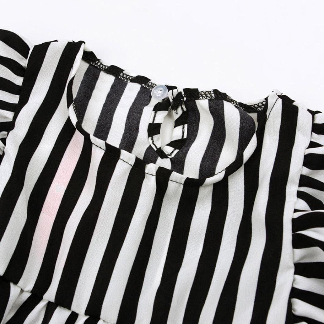 Kehen Kids Toddler Baby Girls 2pcs Summer Outfits Ruffles Sleeveless Stripes T-Shirt Tops+Black Shorts Sets
