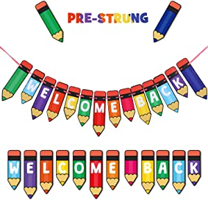 Welcome Back Party Decorations, Multicolour Pencil Banner Welcome Back Banner for Back to School Party Decorations, Teacher Banner Creative Teaching Press Banner Classroom