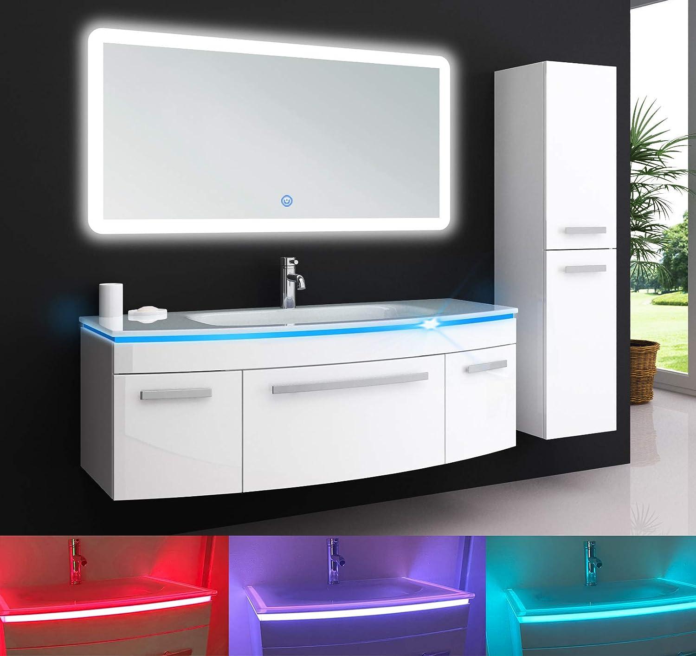 Oimex Jasmin 8 cm Badmöbel mit LED Spiegel + 8x Seitenschrank Hochglanz  Weiß Badezimmer Set mit viel Stauraum LED Waschtisch Glaswaschbecken