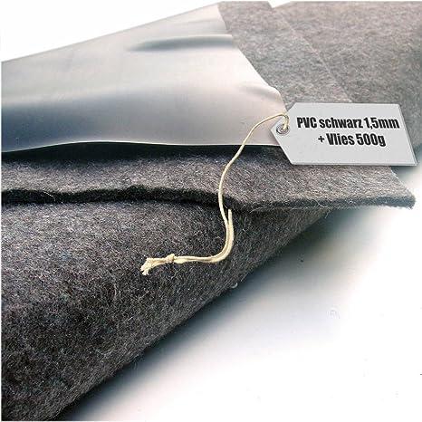 Teichfolie PVC 1,5mm schwarz in  4m x  5m mit Vlies 300g//qm