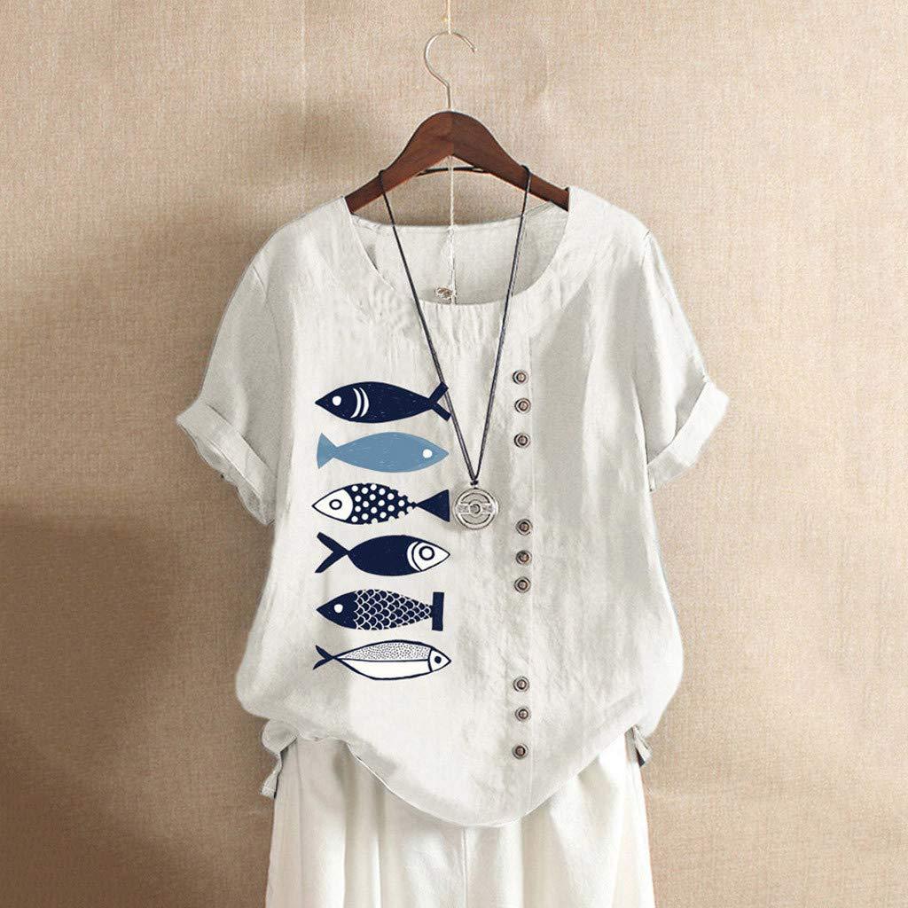 Lilicat Donna Manica Corta T Shirt Camicetta da di Bottone Casual Loose Top Pullover Donna Bluse Camicie Lino Top M-5XL