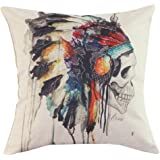 CoolDream New Printing Cushion Cover Watercolor Skull Headdress Pillow Cover Sofa Cover Decorative Pillows-American Indian