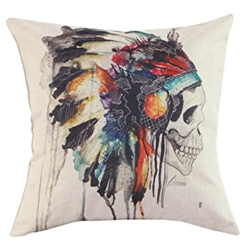 CoolDream New Printing Cushion Cover Watercolor Skull Headdress Pillow Cover Sofa Cover Decorative Pillows-American