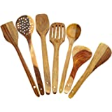 Triple s handicrafts Beechwood Serving Spoon Set, Brown, (Set of 7)