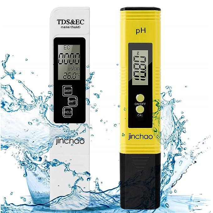 JINCHAO Calidad del Agua Medidor de Prueba, Medidor PH TDS Temperatura EC 4 en 1 Digital, para Agua Potable, hidroponía, jardinería, acuarios, ...