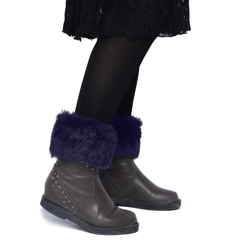 TM Women Winter Faux Fur Boot Cuff Knitting Soft Leg Warmers niceEshop
