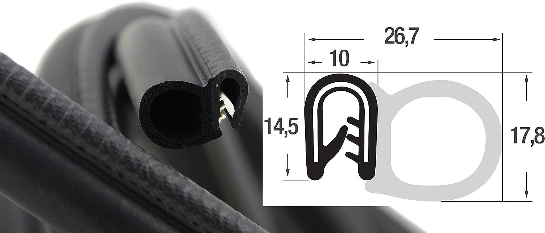 Klemmprofil aus weich PVC 0,1 m DS2 Dichtungsprofil von SMI-Kantenschutzprofi mit seitlicher Dichtung aus EPDM Moosgummi Klemmbereich 1-4mm einfache Montage selbstklemmend ohne Kleber