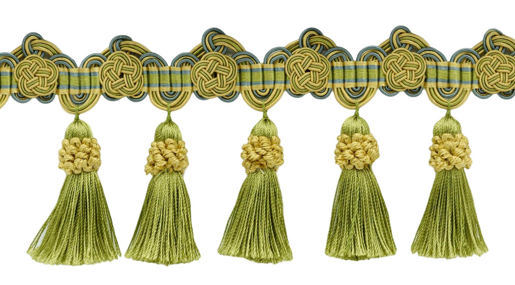 DÉCOPRO 12 Yard Package of 3.75 Inch Gold, Green, Blue Tassel Fringe Trim with Rosettes|Style# TFAX0375 (21765)|Color: Mermaid - LX04 (36 Ft / 11 Meters) by DÉCOPRO