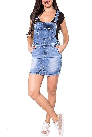 EGOMAXX Falda de los Pantalones Vaqueros para Mujer con el Dril ...