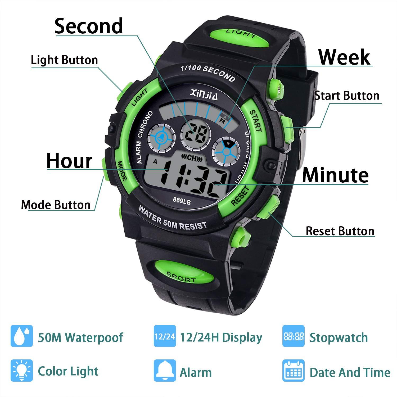 Reloj Digital para Niños,Niños Niñas 50M (5ATM) Impermeable 7 Colores LED Relojes Deportivos Multifuncionales para Exteriores con Alarma (Negro Verde): ...