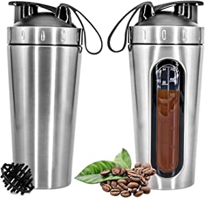 Yanhuang 28oz (800ml) Stainless Steel Protein Shaker Bottle with Mixing Ball,Leak-Proof, Visible Measuring Window,Safe BPA Free Blender Cup for Gym Workout Fitness