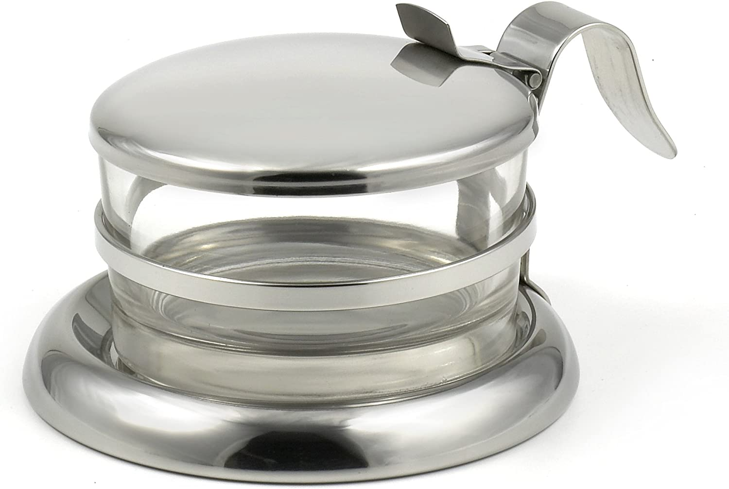 StainlessLUX 73444 Brilliant Stainless Steel Salt Server/Cheese Bowl/Condiment Glass Serving Bowl - Quality Serveware for Your Kitchen