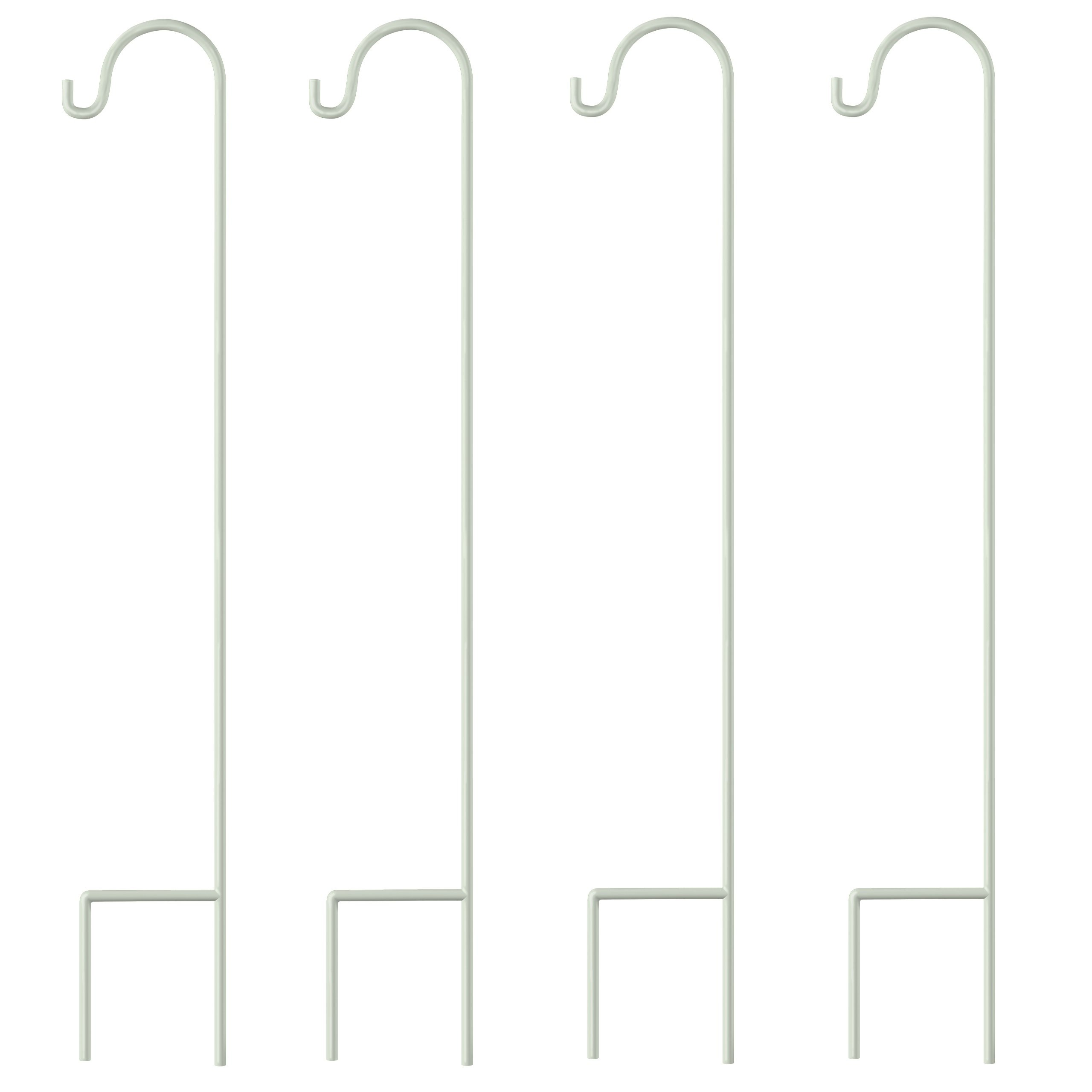 GrayBunny Shepherd Hook, 35 inch White, Set of 4 Solid (Non-Hollow) Single Piece (No Assembly), Strong Rust Resistant Premium Metal Hanger For Weddings Plant Baskets Solar Lights Lanterns & Mason Jars