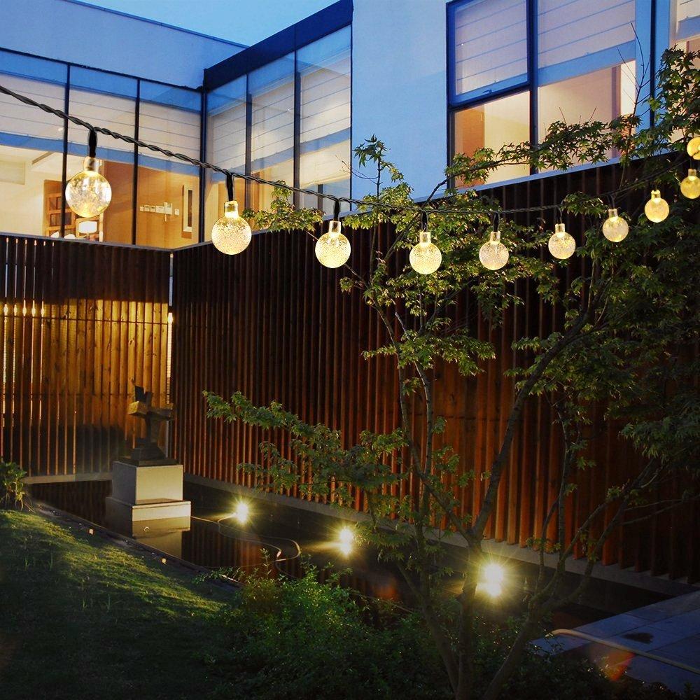 GreenClick Solar Globe String Lights, 40 Leds 19.6ft Solar Powered Outdoor String Lights Fairy light Crystal Ball LED Decorative Lights Garden Xmas Wedding Party Decoration (Warm white,25.7ft)