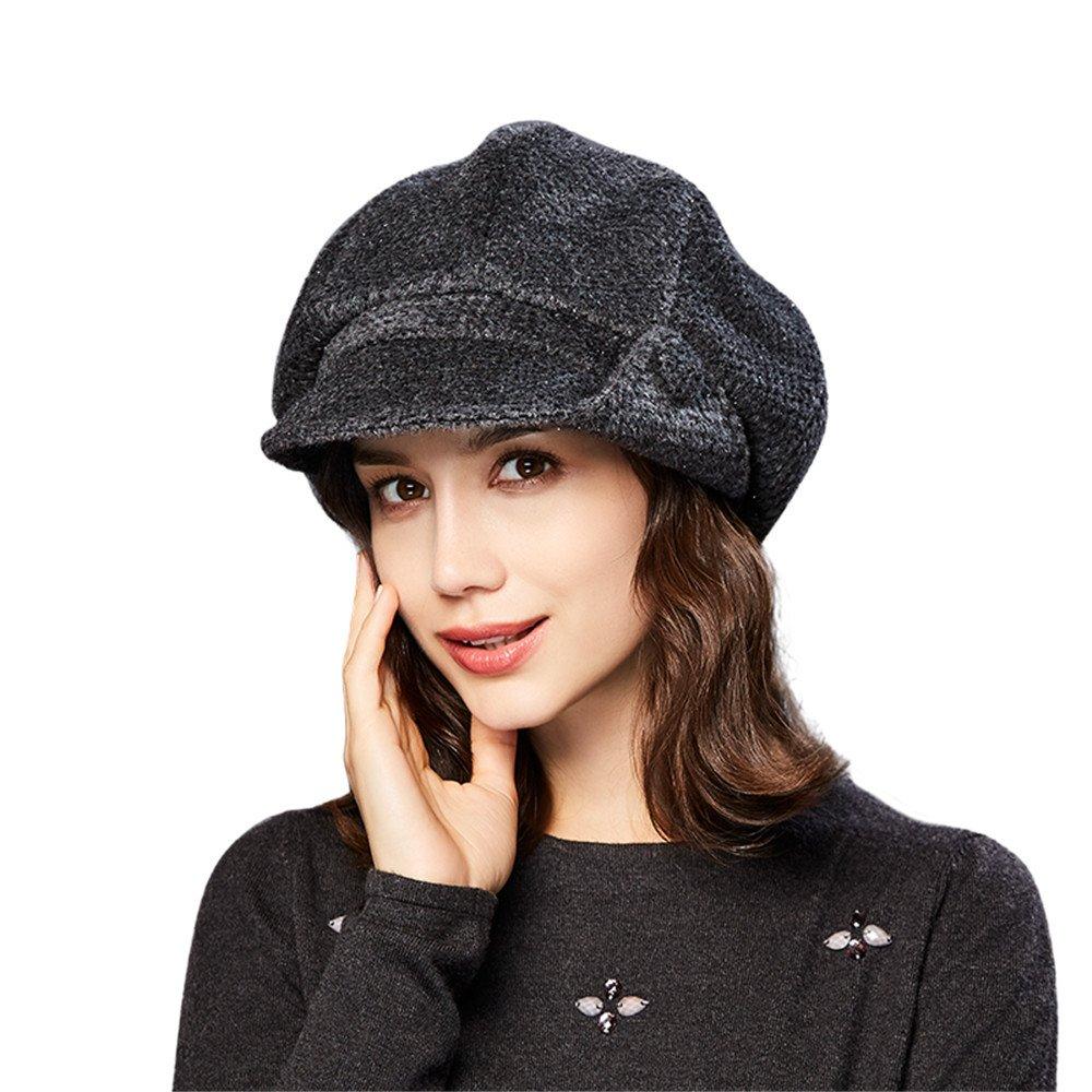 Kenmont Women Winter Warm Newsboy Cabbie Beret Cap Slouchy Cloche Hat Snow Ski Caps With Visor 56809