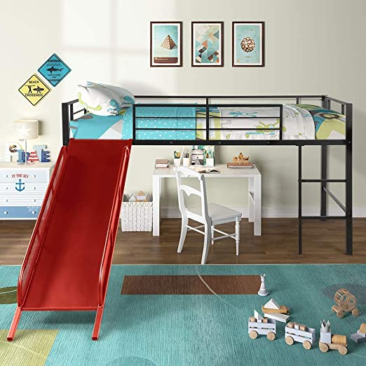 Amazon Com Twin Loft Bed With Slide And Stairs For Kids Norcia