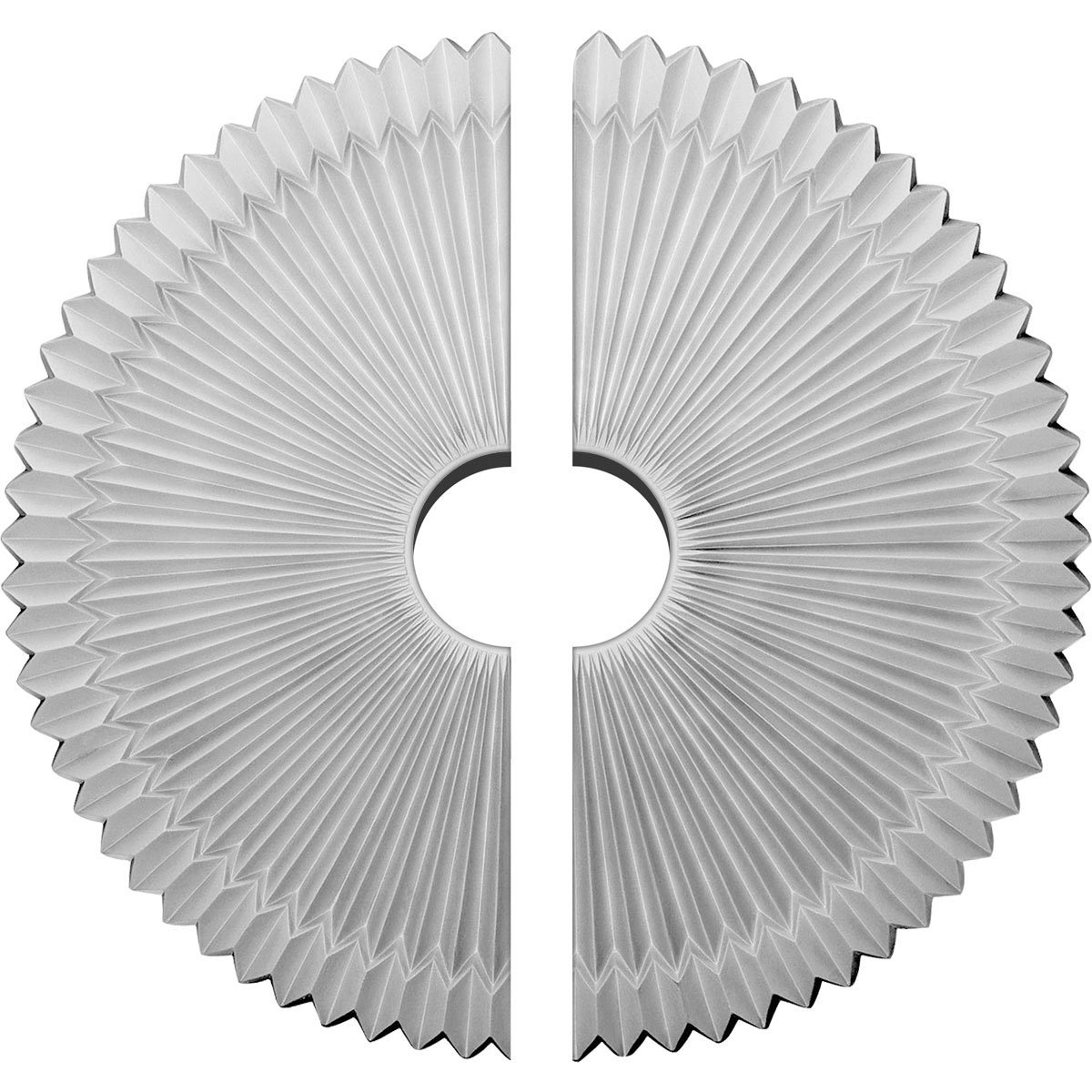 Ekena Millwork CM24SH2-04500 24''OD x 4 1/2''ID x 3''P Shakuras Ceiling Medallion, Two Piece (Fits Canopies up to 5''), Factory Primed White