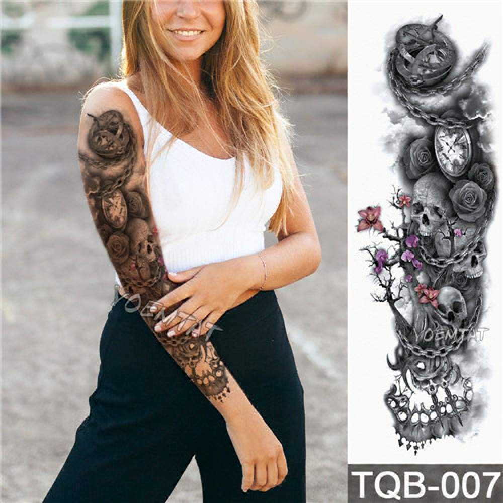 Full Flower Arm Tattoo Sticker Tiger Down Mountain Body Painting ...