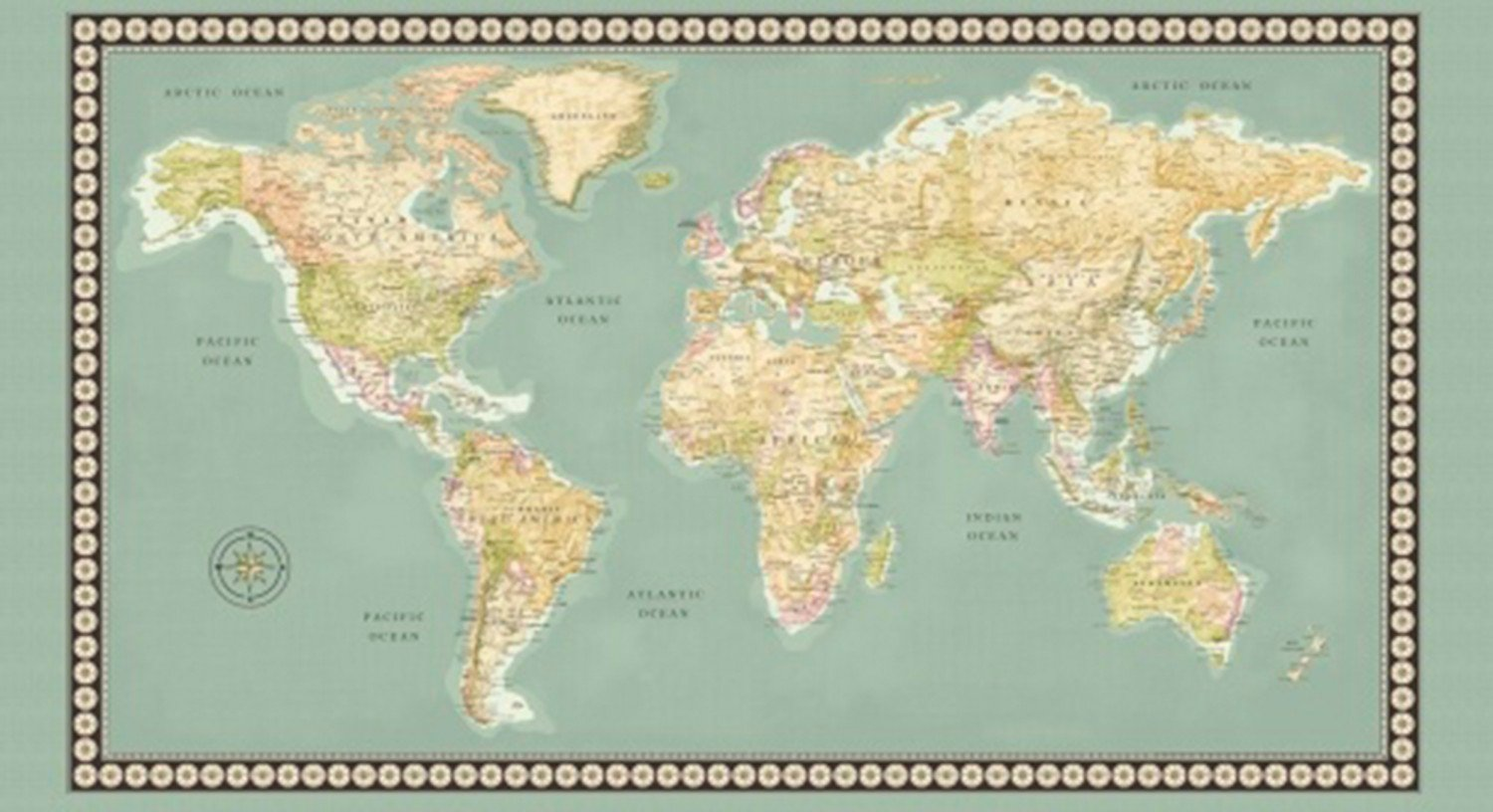 Amazon Com 23 X 44 Panel World Map Continents Countries Oceans