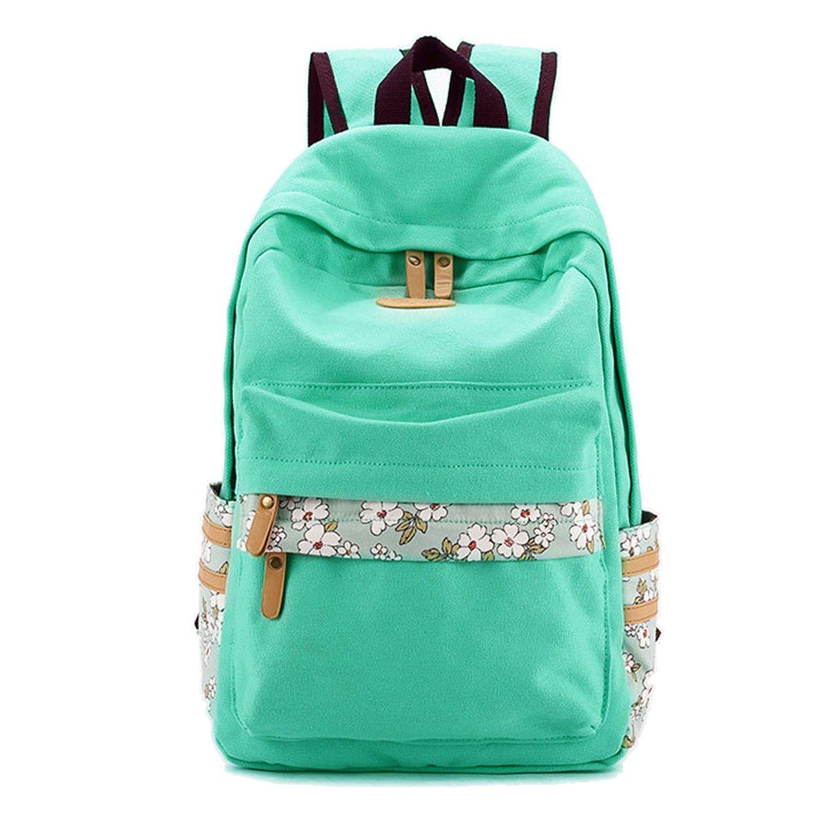 VentoMarea Lightweight Canvas Backpacks for Teen Girls School Bag Casual Travel Daypacks,Mint Green