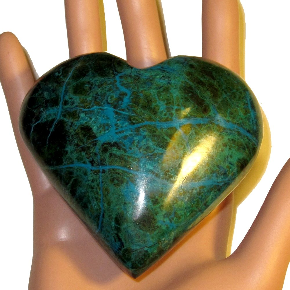 Chrysocolla Heart 05 Big Plump Natural Peruvian Turquoise Crystal True Love Anniversary Valentines 3.2'' by SatinCrystals (Image #8)