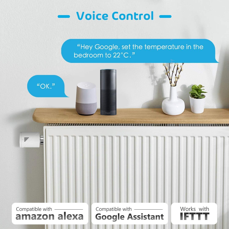 V/álvula Termost/ática Inteligente Meross Necesita hub extra Compatible con Alexa Google Assistant e IFTTT MTS100 Termostato de Calefacci/ón Programable