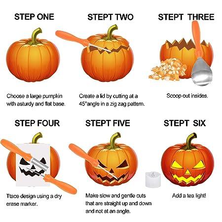 Yifone Herramientas de Talla de Calabaza, 4PCS Pumpkin Carving Kit ...