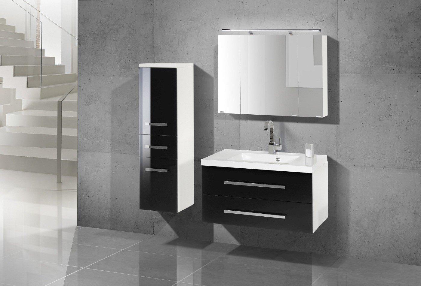 Design Badmöbel Set mit Spiegelschrank 90 cm