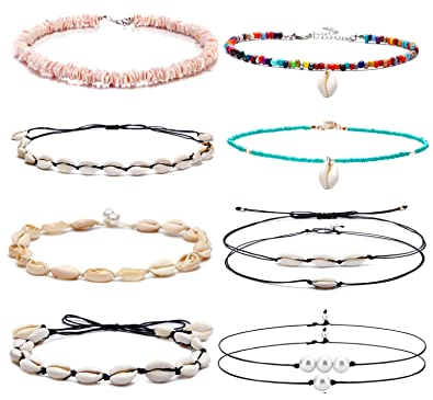 6496136f4bf64 Amazon.com: SOOWOOT 10Pcs Natural Shell Choker Necklaces for Women ...