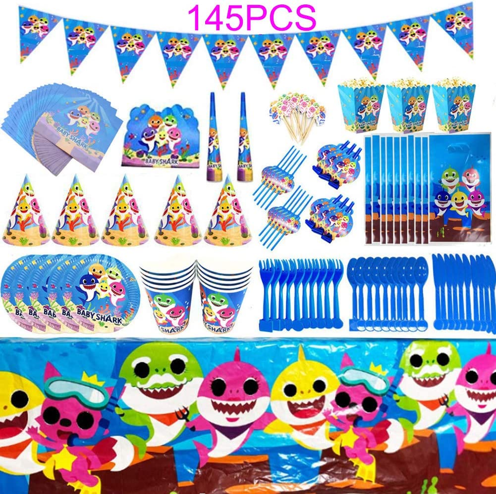 Baby Shark Party Supplies Set Baby Birthday Parties Decorations Ocean Shark Theme Flatware, Spoons, Plates, Cups, Straws,Napkins Birthday Party Favor Pack Set for Kids