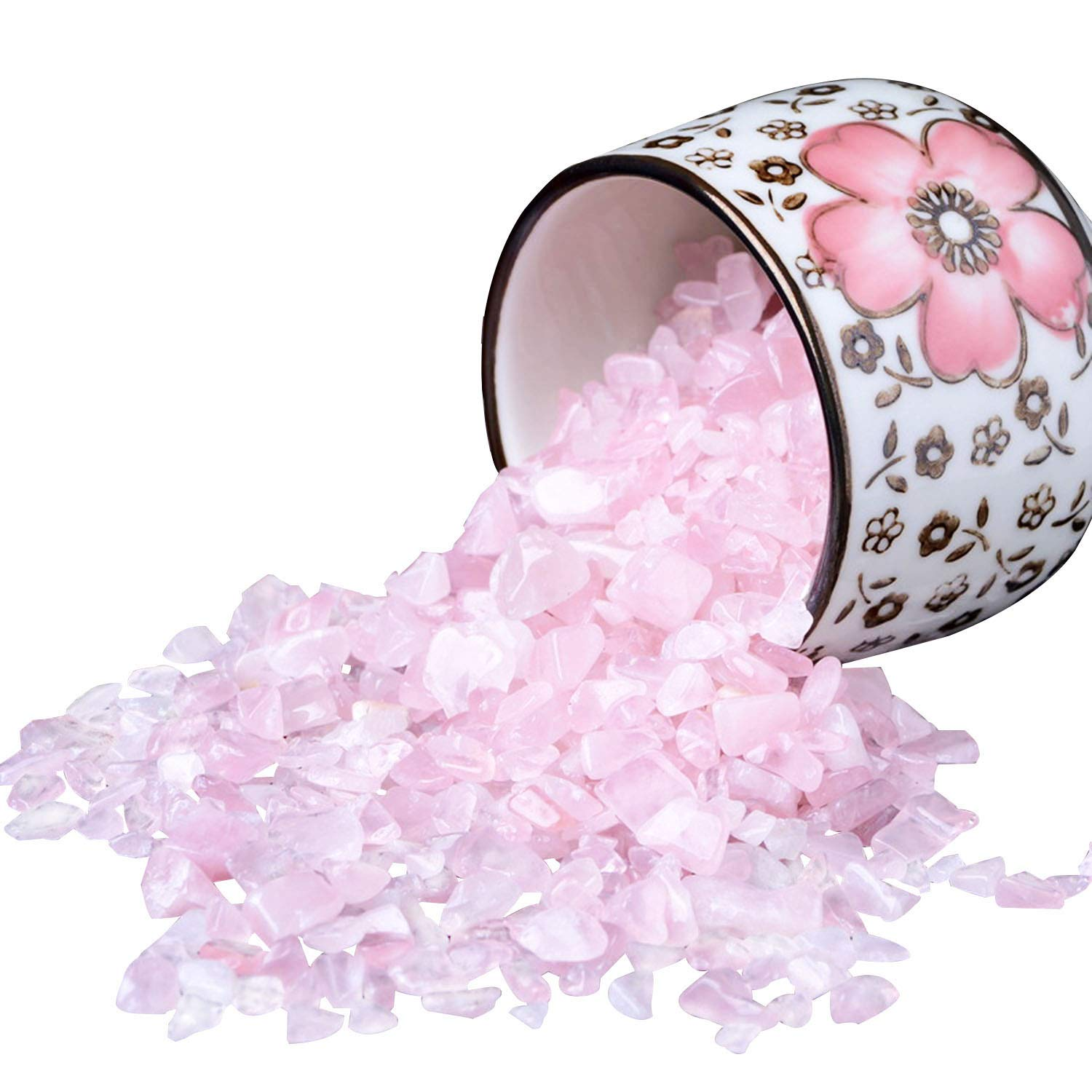 Rose Stones, Crystals Gravel Quartz Tumbled Stone Pink Pebble Irregular Shaped Stones for Vase Filler, 1 Pounds(approx 800) by Johouse