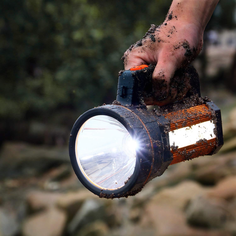 27cm x 13cm WASAGA 6000 L/úmenes Potente Linterna LED Port/átil XHP50 Antorcha Reflector Recargable USB Foco Impermeable con Soporte Linterna de Luz de Pesca Antorcha LED S/úper Brillante