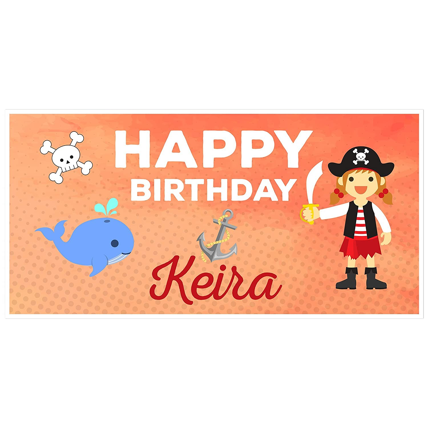Girl Pirate Birthday Banner Personalized Party Backdrop