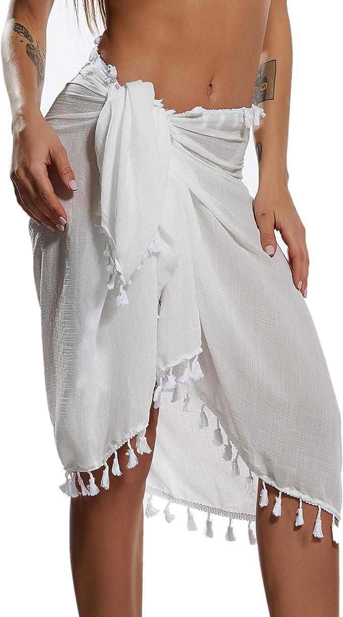 Eicolorte Beach Sarong Pareo Womens Semi-Sheer Swimwear Cover Ups Short Skirt with Tassels   Amazon