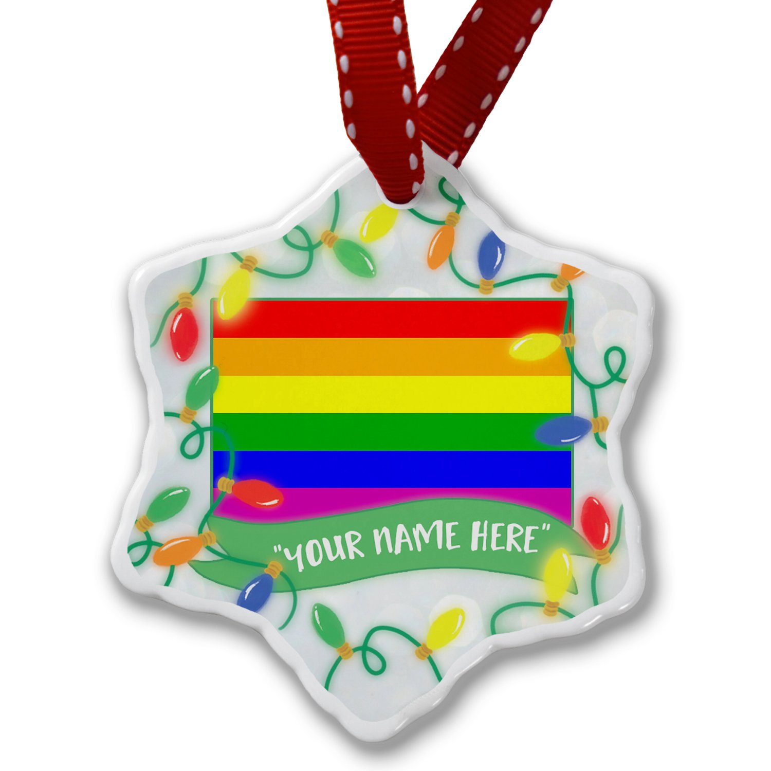 Personalized Name Christmas Ornament, Rainbow Flag NEONBLOND ornament-05-102444