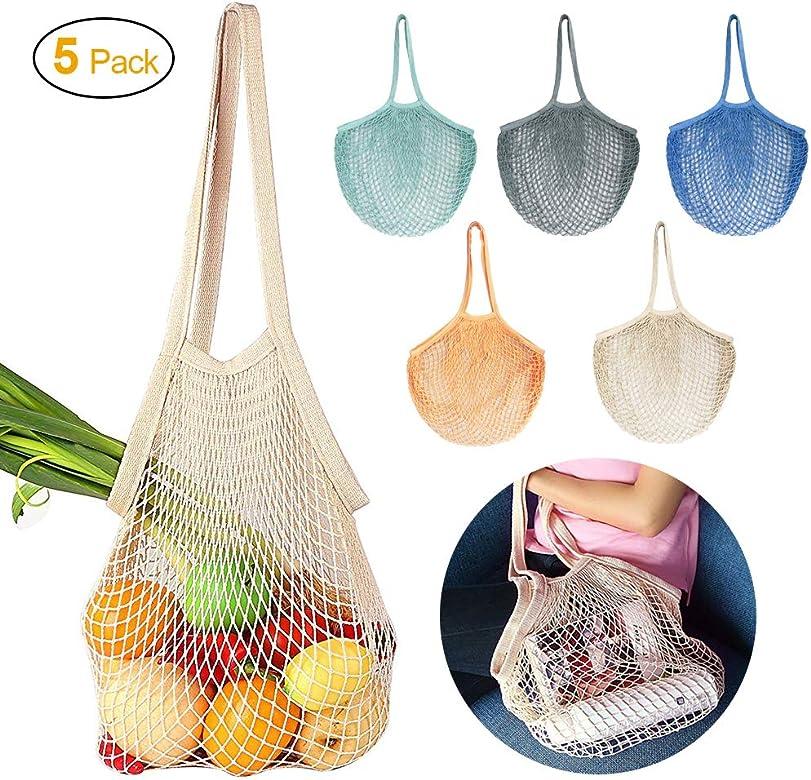 JUCERS - Juego de 5 bolsas de red para la compra de algodón, con asa larga, reutilizables,
