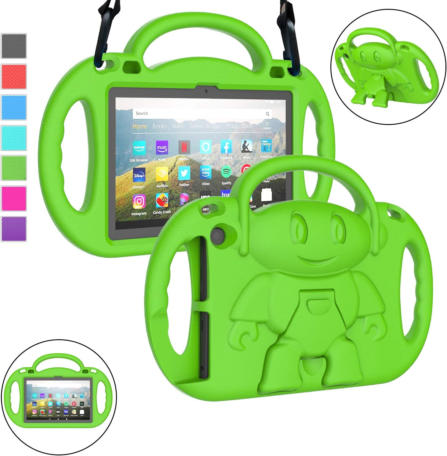 LTROP All-New Fire HD 8 Tablet Case, Fire HD 8 2020 Case for Kids, Fire HD 8 Plus Case, Shockproof Handle Stand 8