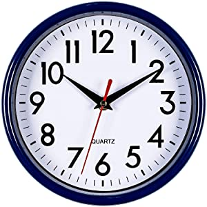 "Bernhard Products - Navy Blue Wall Clock 8"" Silent Non-Ticking Quality Quartz Battery Operated Small Clock for Boys/Kitchen/Classroom/Office/Nursery Room Easy to Read (Navy Blue)"