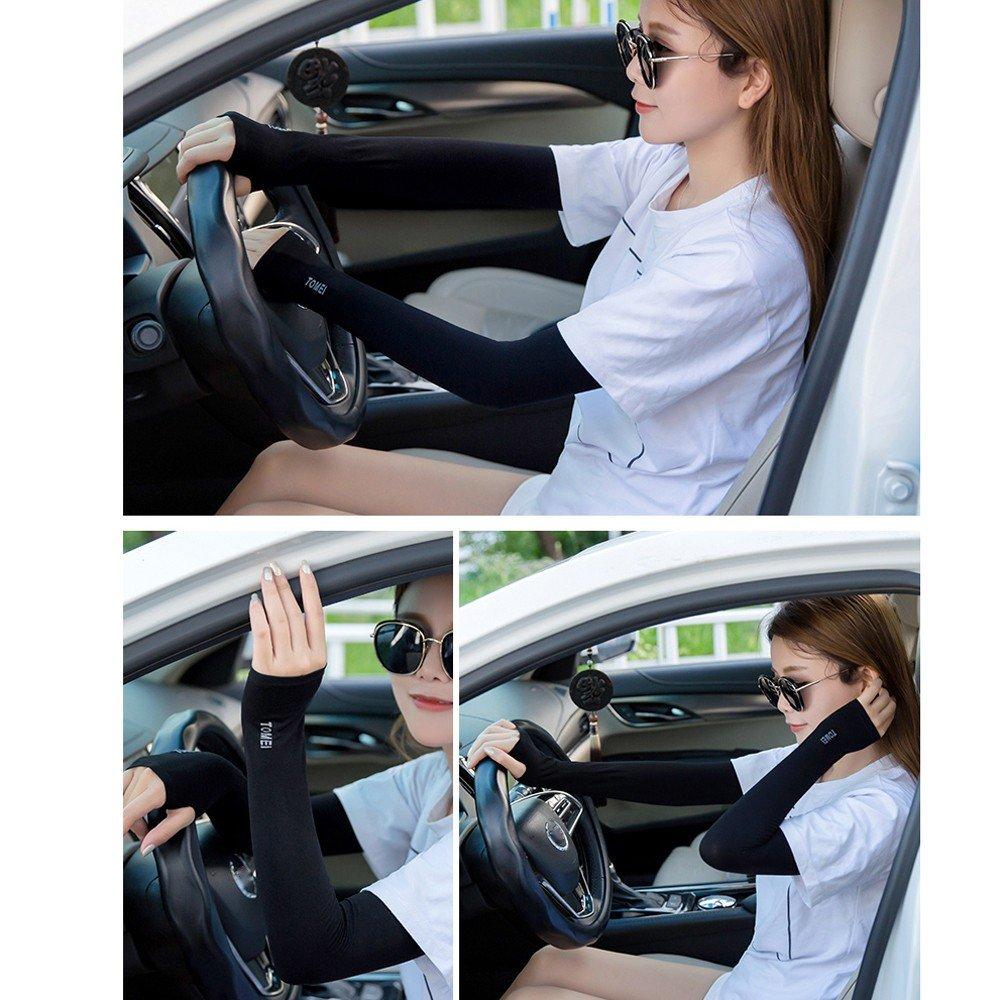 Sttech1 Women Men Ice Silk Arm Cuff Sleeves Sunscreen Anti-Mosquitos Ultraviolet-Proof Sun Protection 1Pair