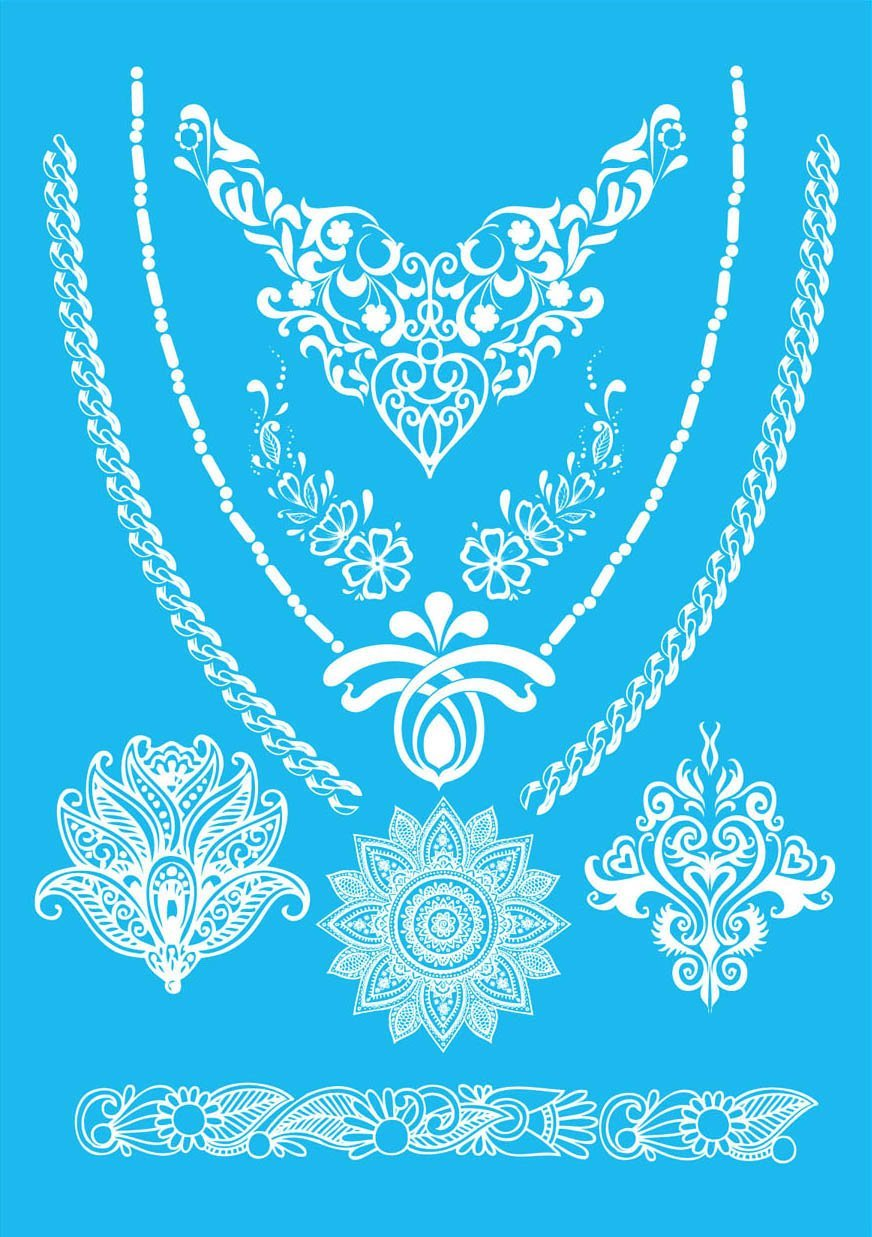 COKOHAPPY White Lace Temporary Tattoo , Flower Totem Fake Jewelry Henna
