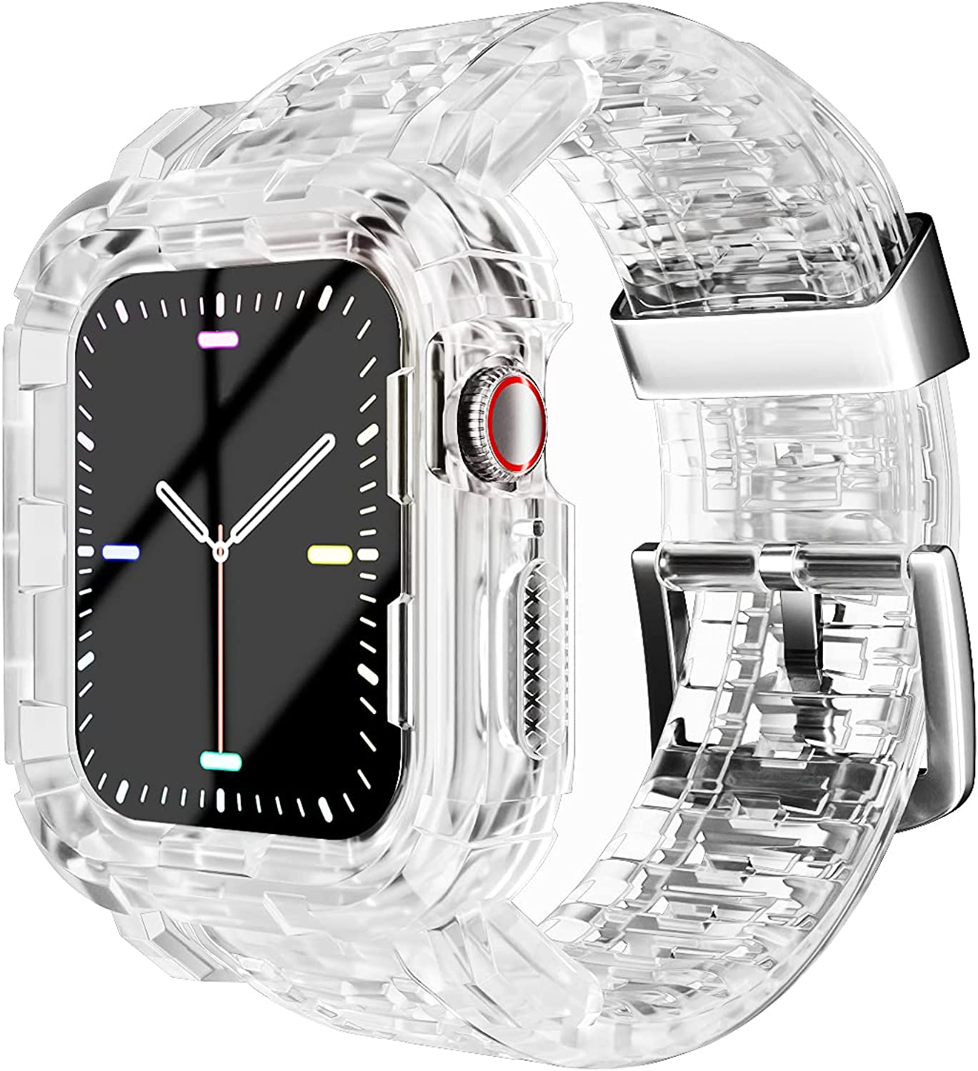 Compatible for Apple Watch Clear Band 38mm 40mm 42mm 44mm with Case,Rugged Bumper Sports Crystal Band Strap Protective Case with Bands Compatible with iWatch SE Series 6/5/4/3/2/1 Transparent